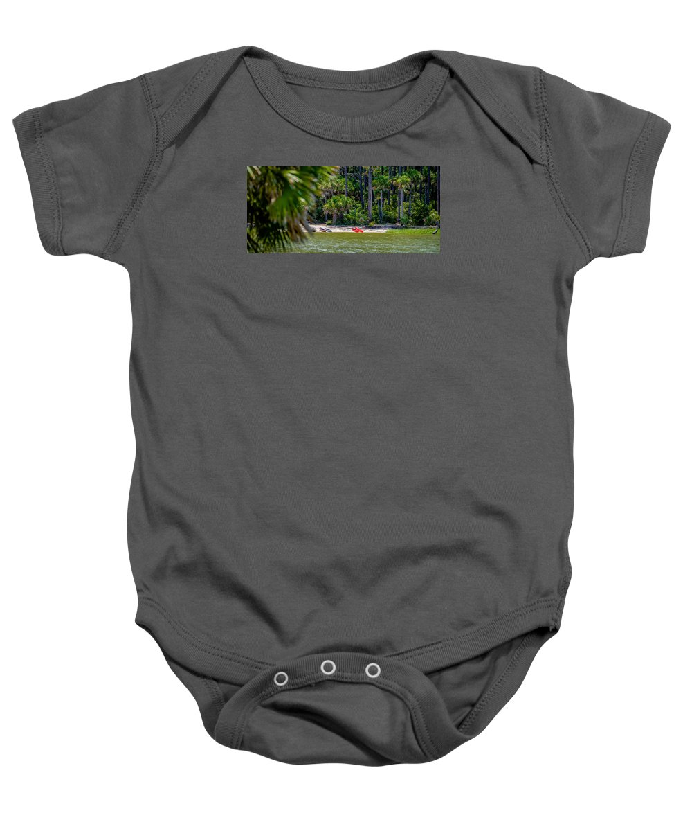 Beaufort Baby Onesie featuring the photograph Palmetto Forest On Hunting Island Beach by Alex Grichenko