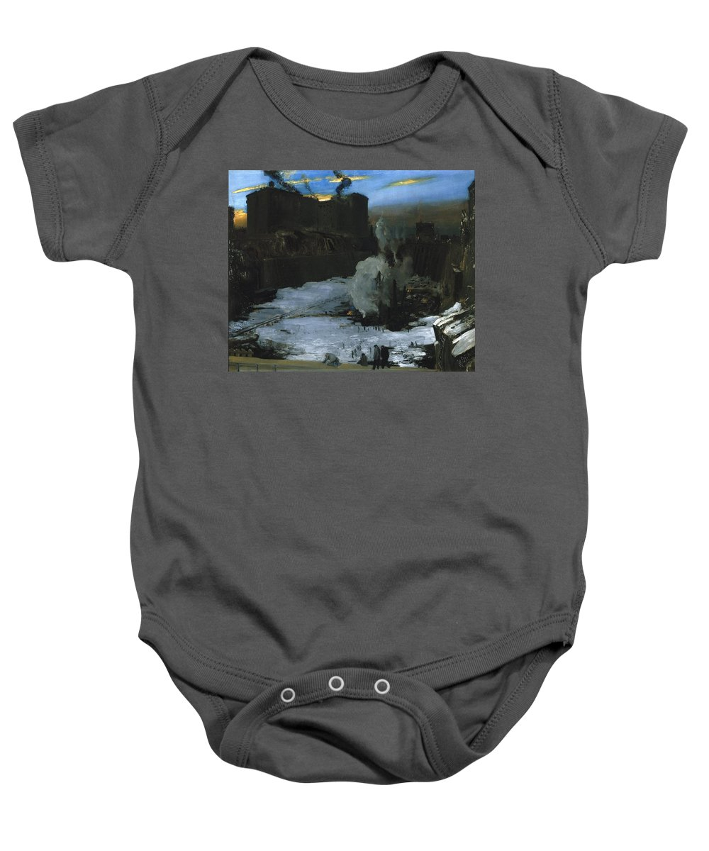 George Wesley Bellows (american Baby Onesie featuring the painting Pennsylvania Station Excavation by George Wesley