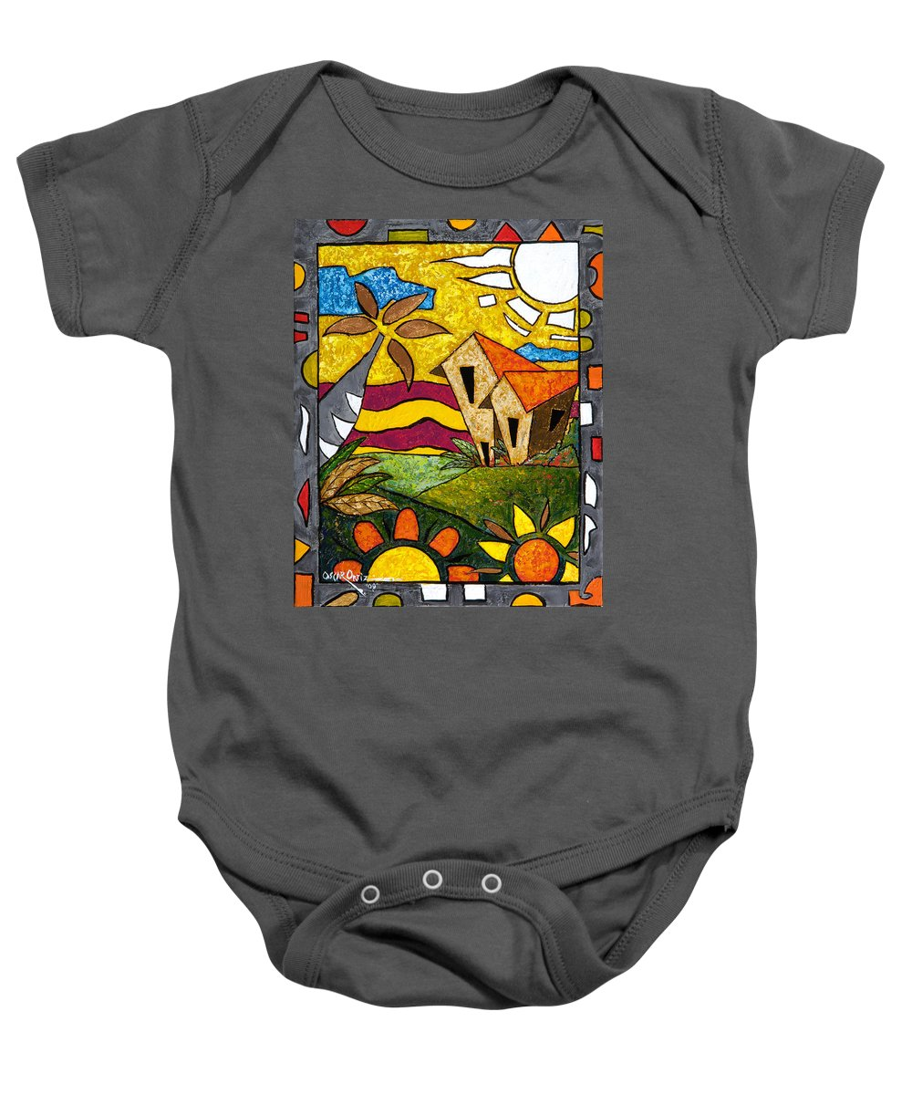 Puerto Rico Baby Onesie featuring the painting A Beautiful Day by Oscar Ortiz