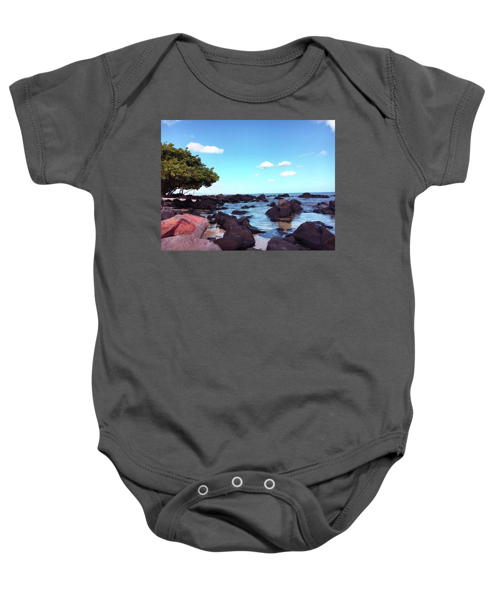 Beautiful Baby Onesie featuring the photograph A Beautiful View Of The Sea From Mauritius by Art Deco
