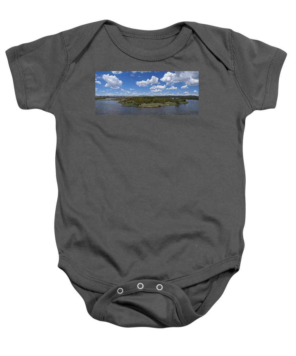 River Baby Onesie featuring the photograph A Bend In The River by Heather Coen