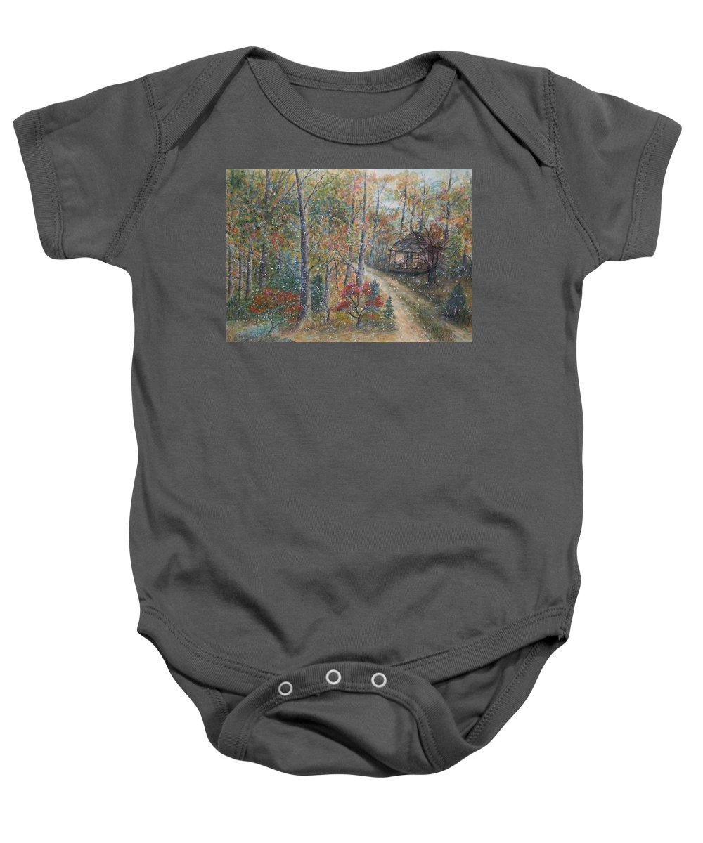 Country Road; Old House; Trees Baby Onesie featuring the painting A Bend In The Road by Ben Kiger