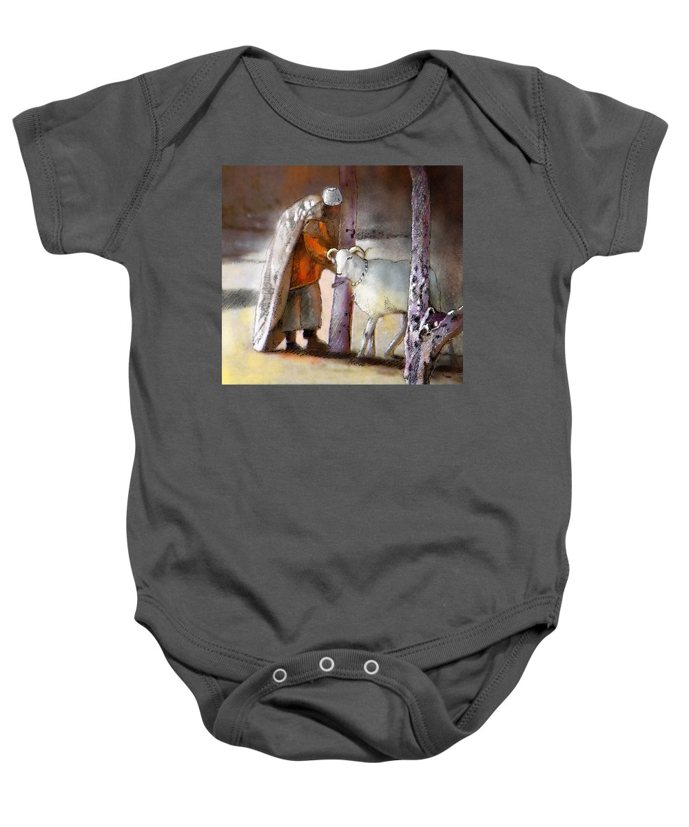 Eid Ul Adha Baby Onesie featuring the painting A Blessed Eid by Miki De Goodaboom