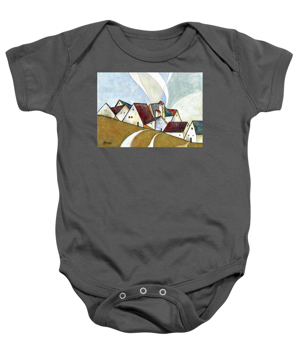 Original Art Baby Onesie featuring the painting  A Cold Day by Aniko Hencz