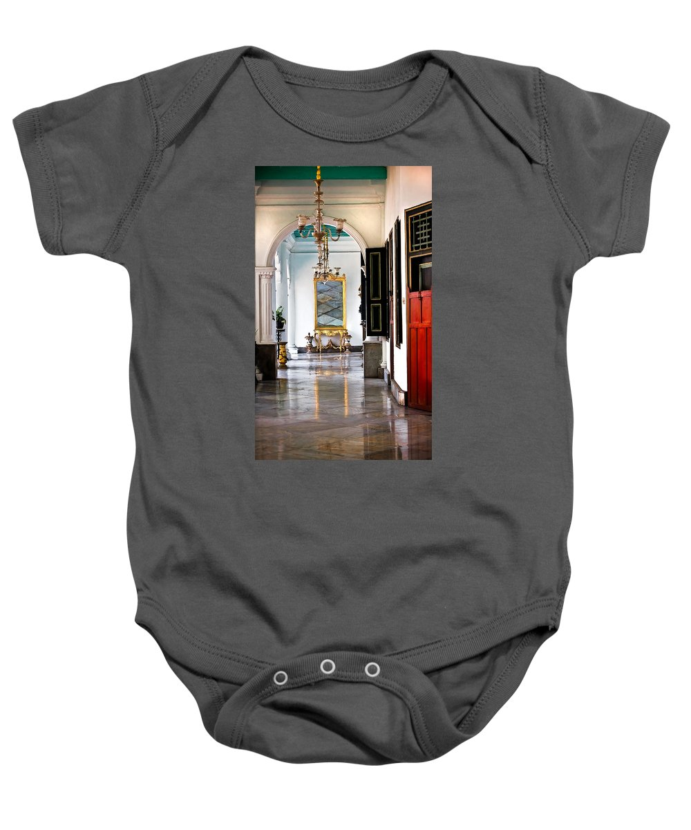 Historical Baby Onesie featuring the photograph A Corridor In Keraton Sultan Palace Yogyakarta by Charuhas Images