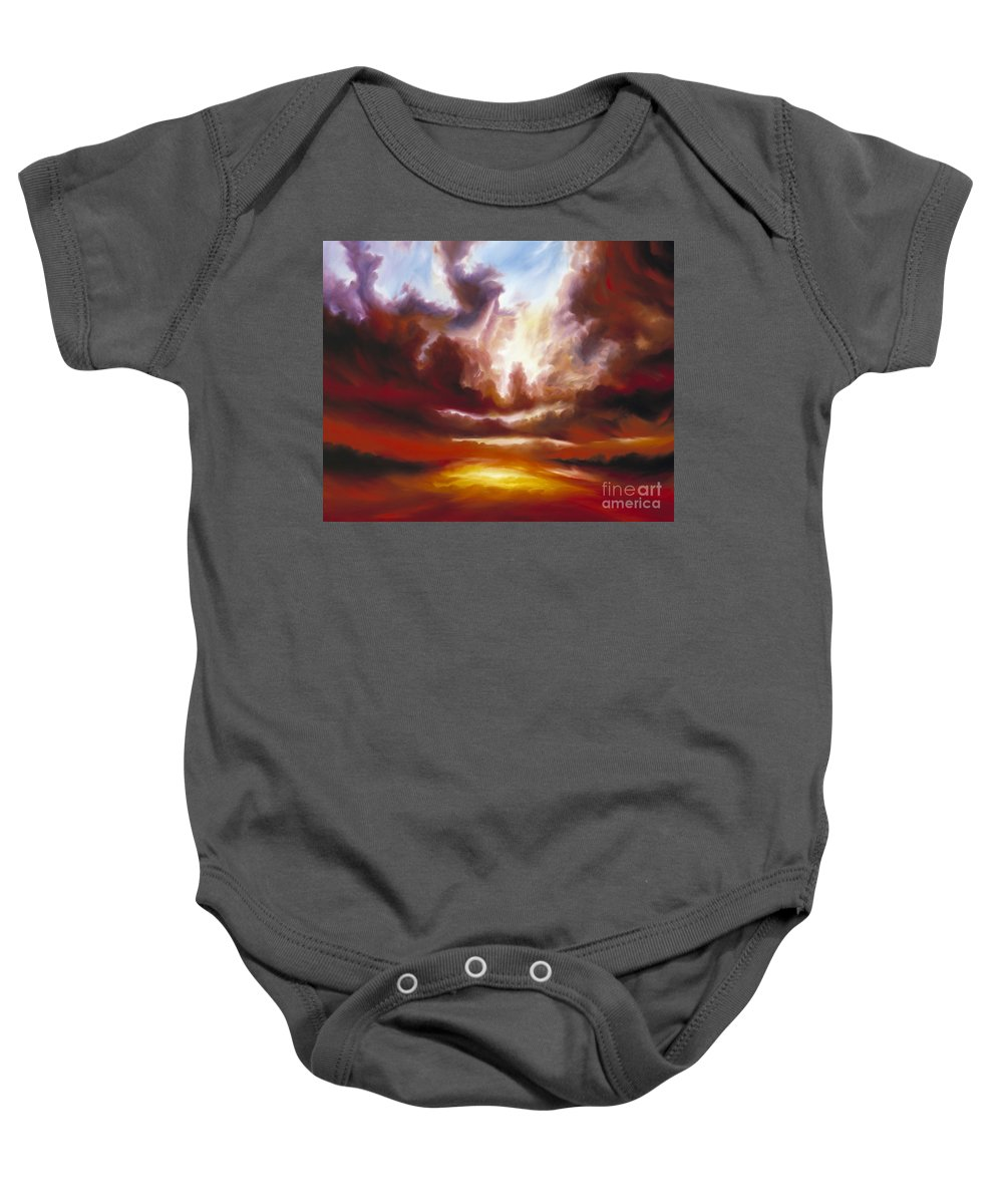 Tempest Baby Onesie featuring the painting A Cosmic Storm - Genesis V by James Christopher Hill