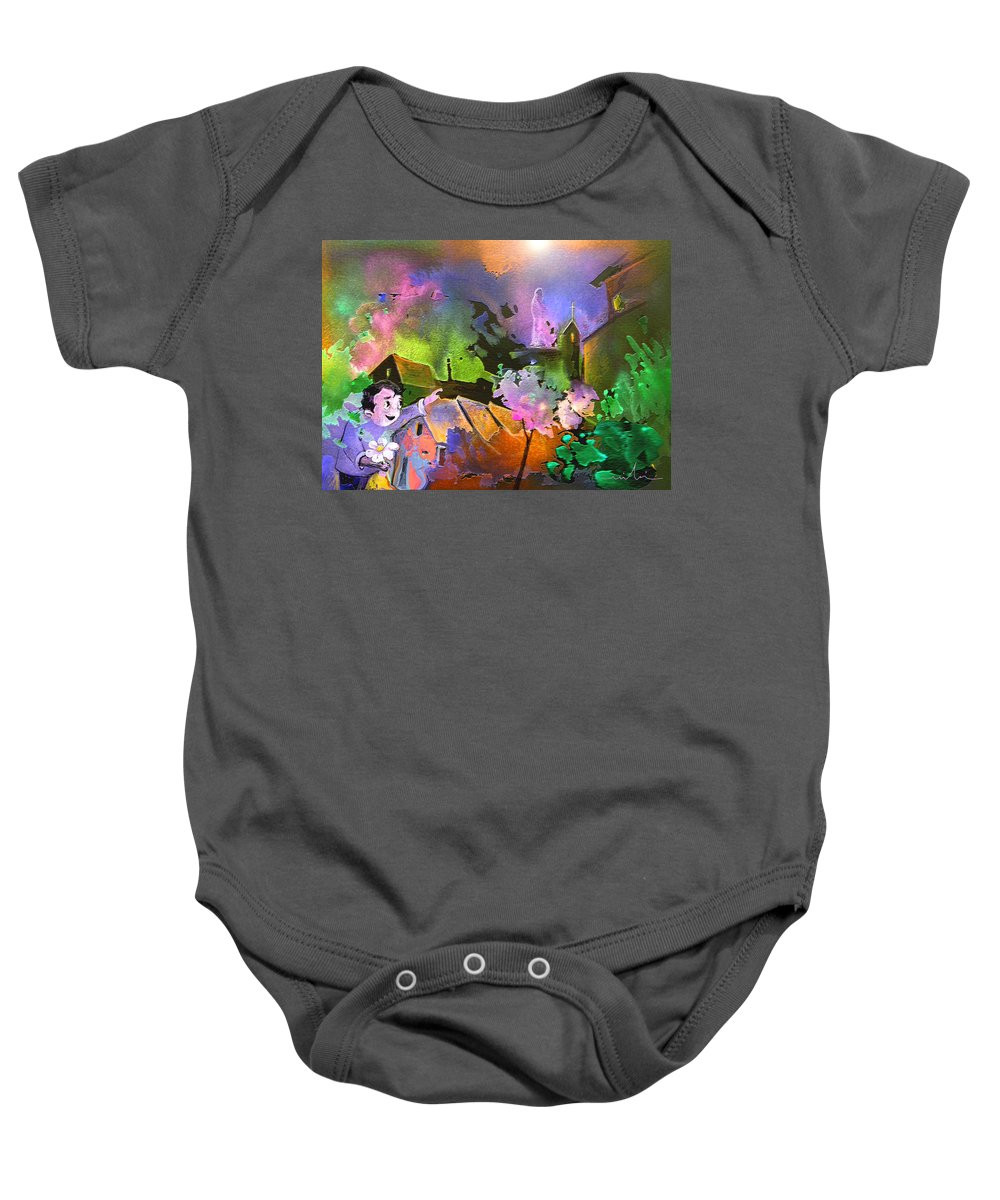 Dream Baby Onesie featuring the painting A Daisy For Mary by Miki De Goodaboom