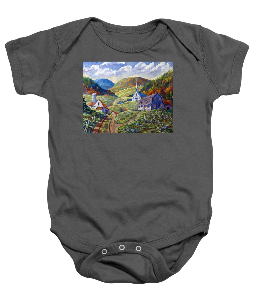 Landscape Baby Onesie featuring the painting A Day In Our Valley by Richard T Pranke
