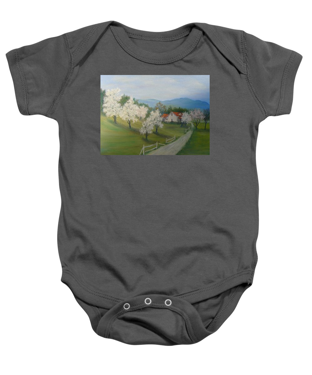 Landscape; Spring; Mountains; Country Road; House Baby Onesie featuring the painting A Day in the Country by Ben Kiger
