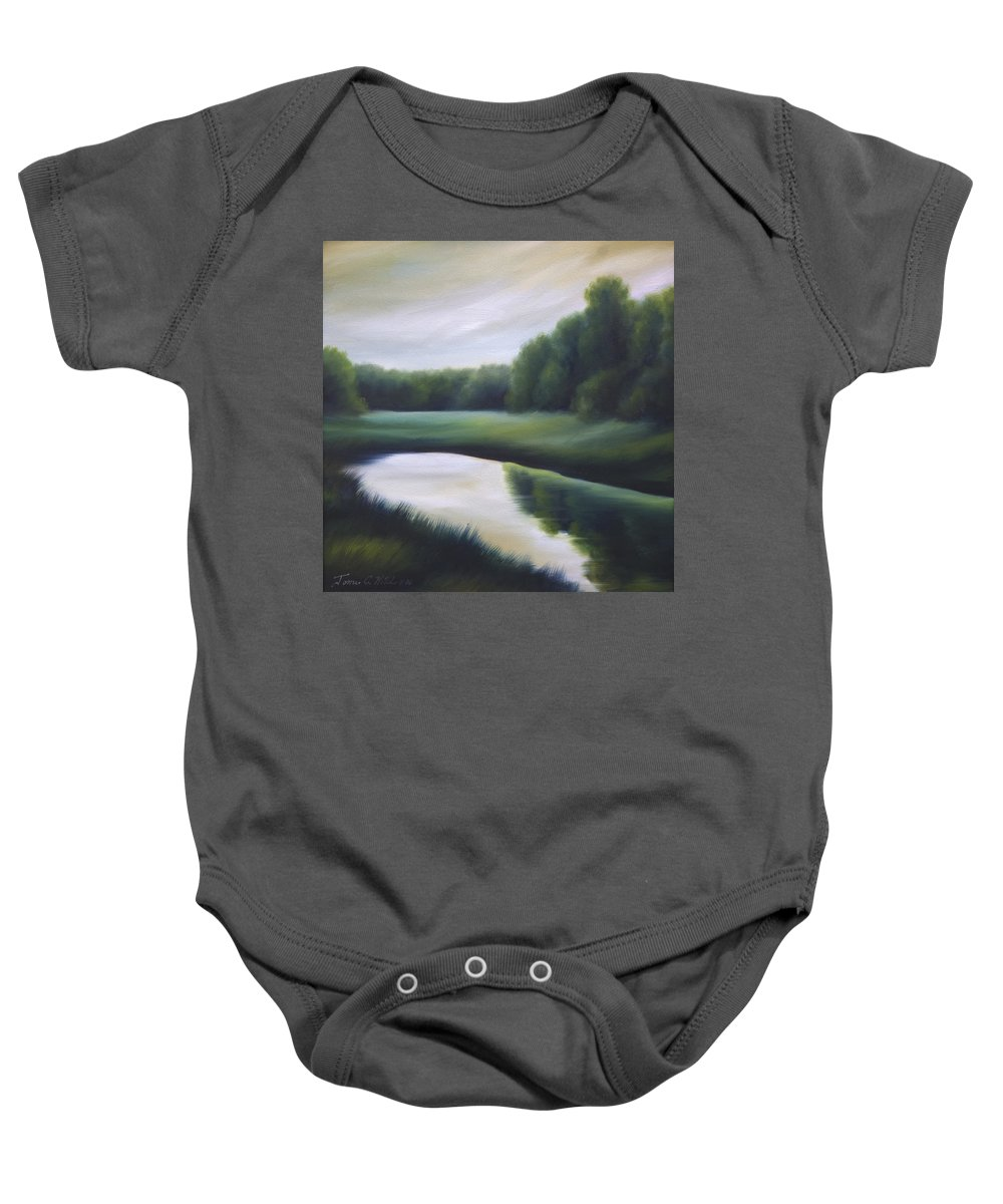 Nature; Lake; Sunset; Sunrise; Serene; Forest; Trees; Water; Ripples; Clearing; Lagoon; James Christopher Hill; Jameshillgallery.com; Foliage; Sky; Realism; Oils; Green; Tree Baby Onesie featuring the painting A Day In The Life 3 by James Christopher Hill