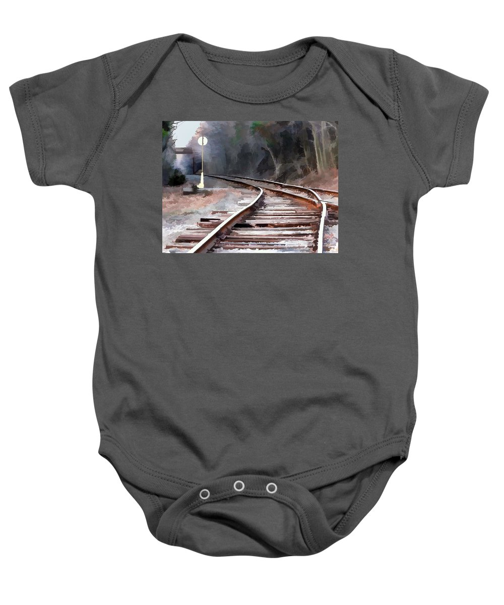 Tracks Baby Onesie featuring the painting A Dreary Day On The Rail Line by Elaine Plesser