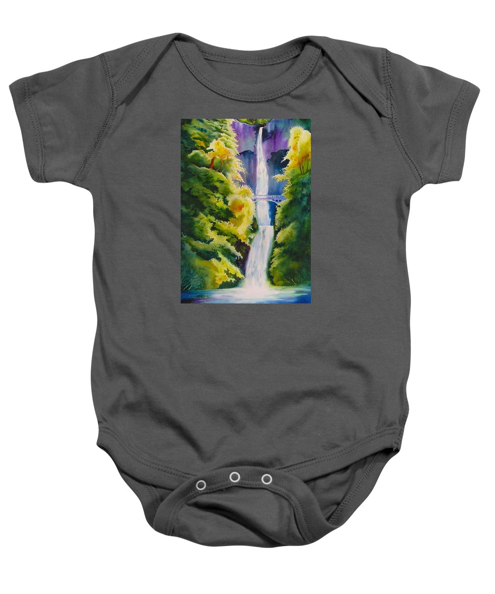 Waterfall Baby Onesie featuring the painting A Favorite Place by Karen Stark