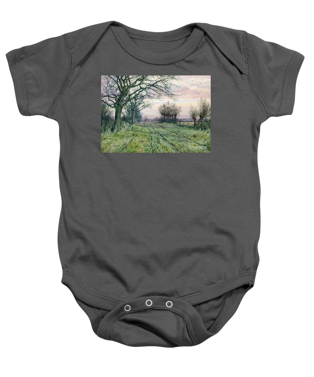 Fenland Baby Onesie featuring the painting A Fenland Lane With Pollarded Willows by William Fraser Garden