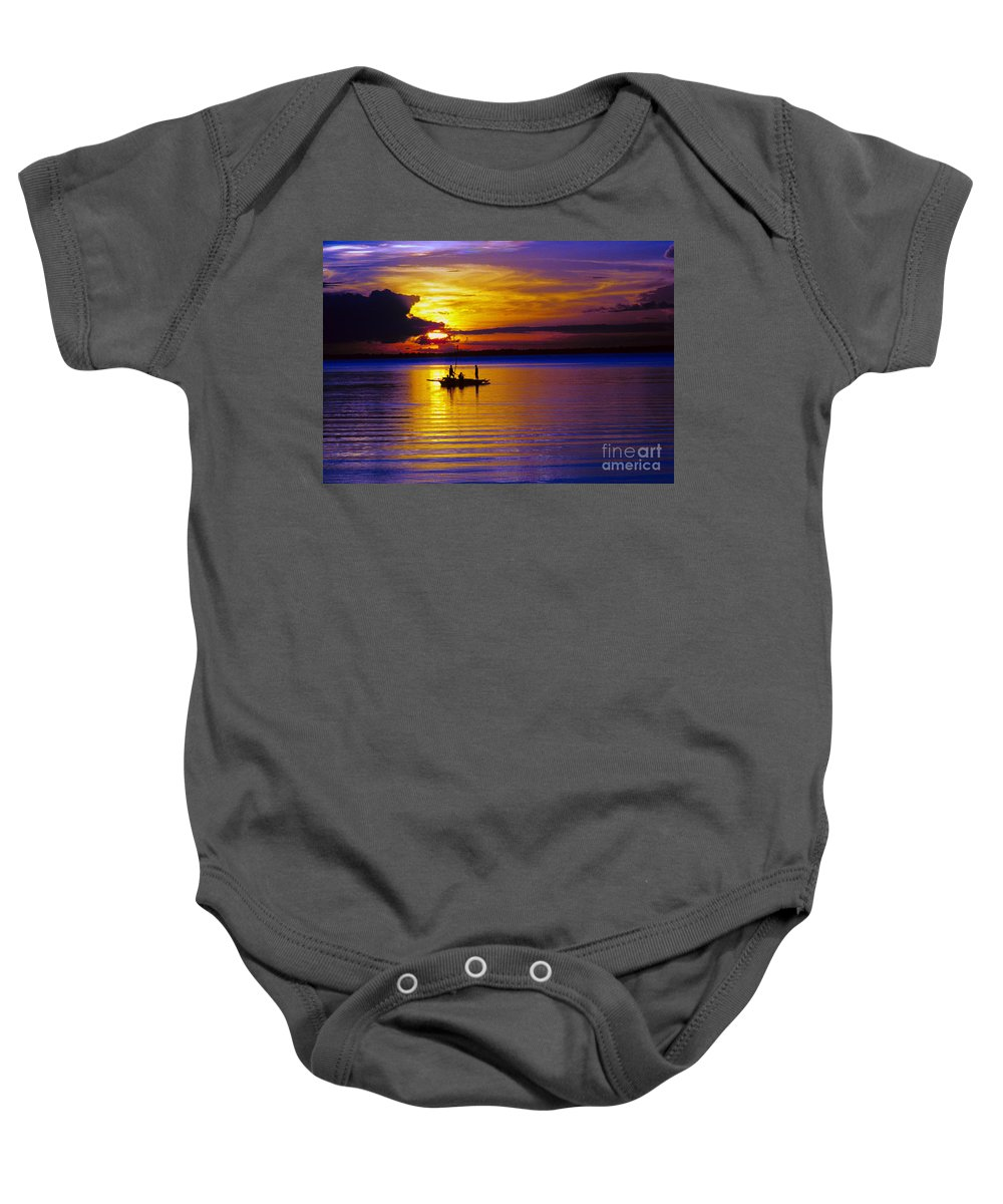 Sunset Baby Onesie featuring the photograph A Fisherman's Sunset by James BO Insogna