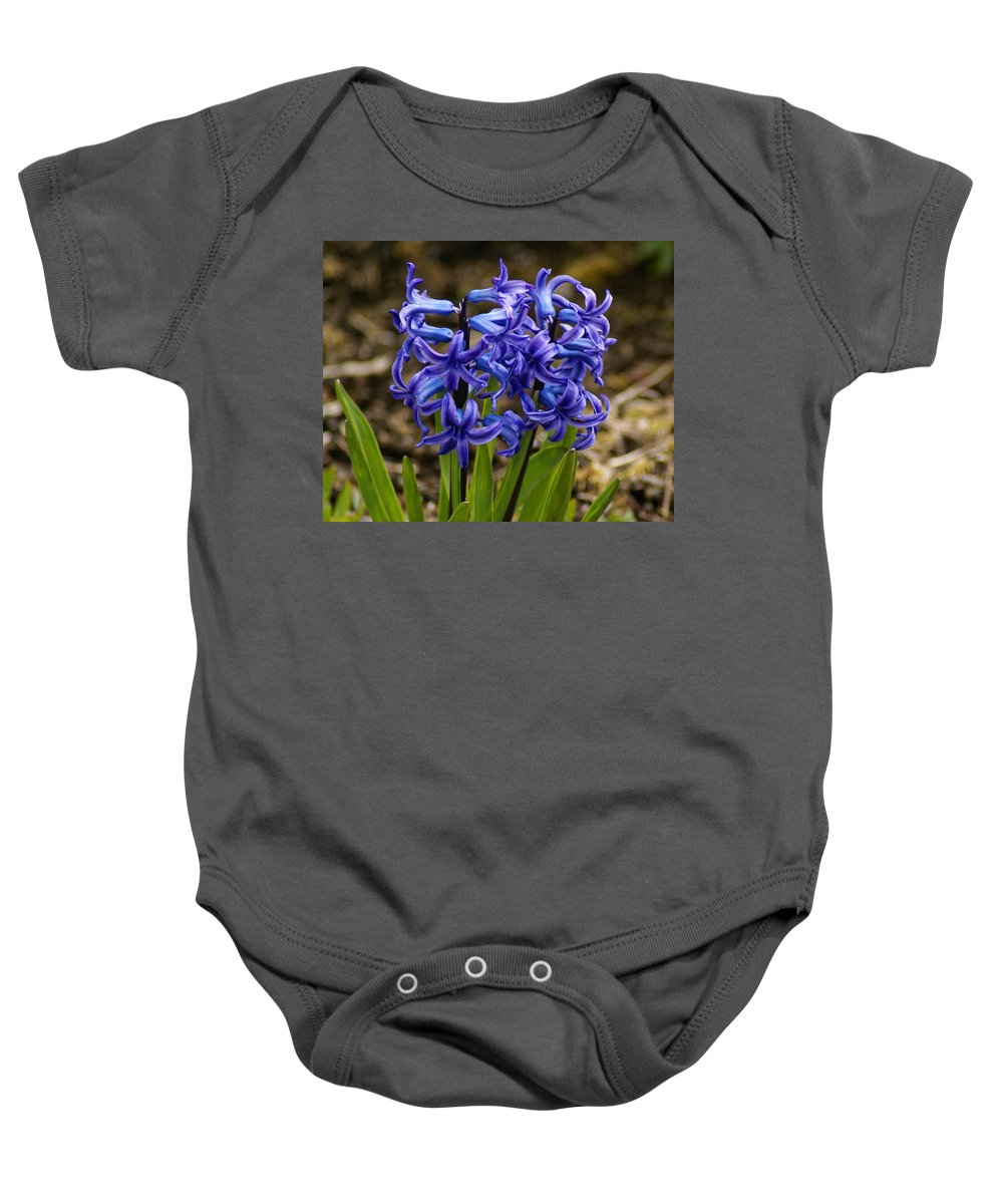 Flowers Baby Onesie featuring the photograph A Gathering Of Blues by Ben Upham III