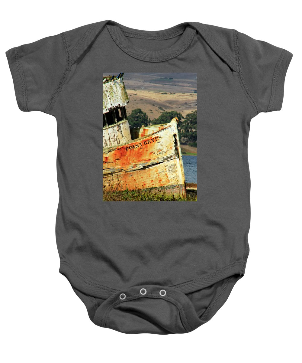 Derelict Baby Onesie featuring the photograph A-ground At Point Reyes by Pauline Darrow
