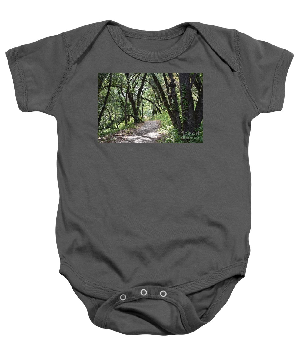 Trees Baby Onesie featuring the photograph A Happy Trail by Suzanne Leonard