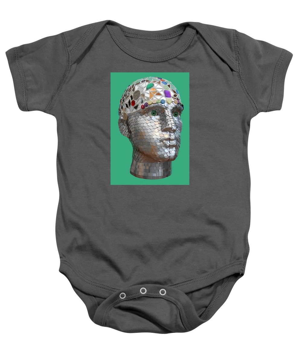 Mosaic Baby Onesie featuring the painting A Head Full Of Shattered Dreams by Gary Hogben