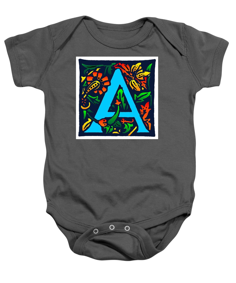 Alphabet Baby Onesie featuring the digital art A In Blue by Kathleen Sepulveda
