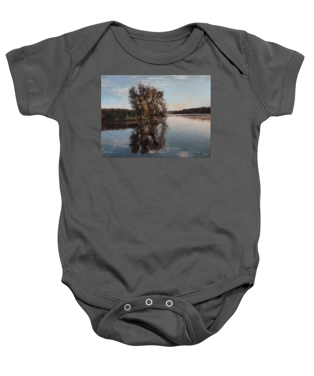 Realism Baby Onesie featuring the painting A Lake by Darko Topalski
