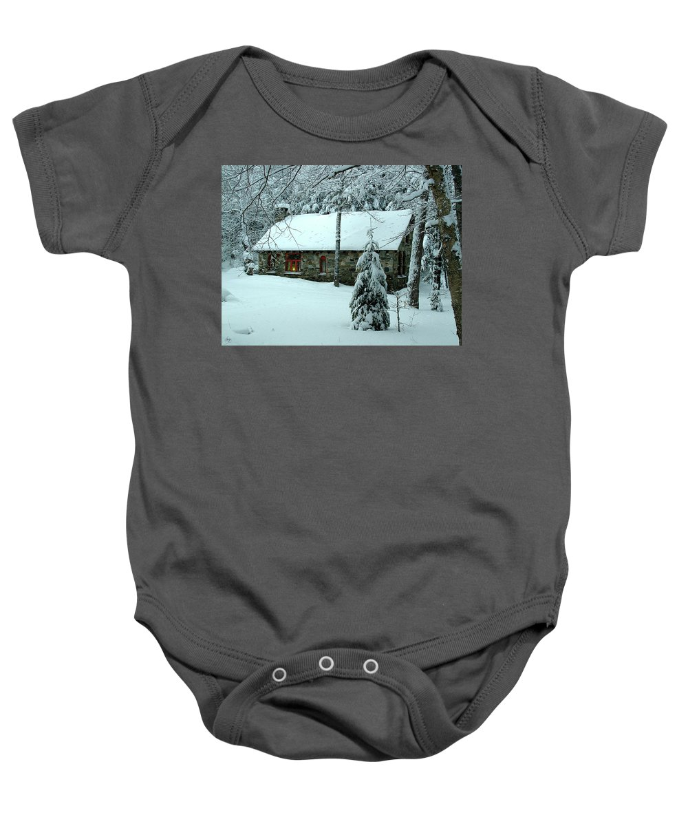 Stone Baby Onesie featuring the photograph A Light In The Stone House Window by Wayne King