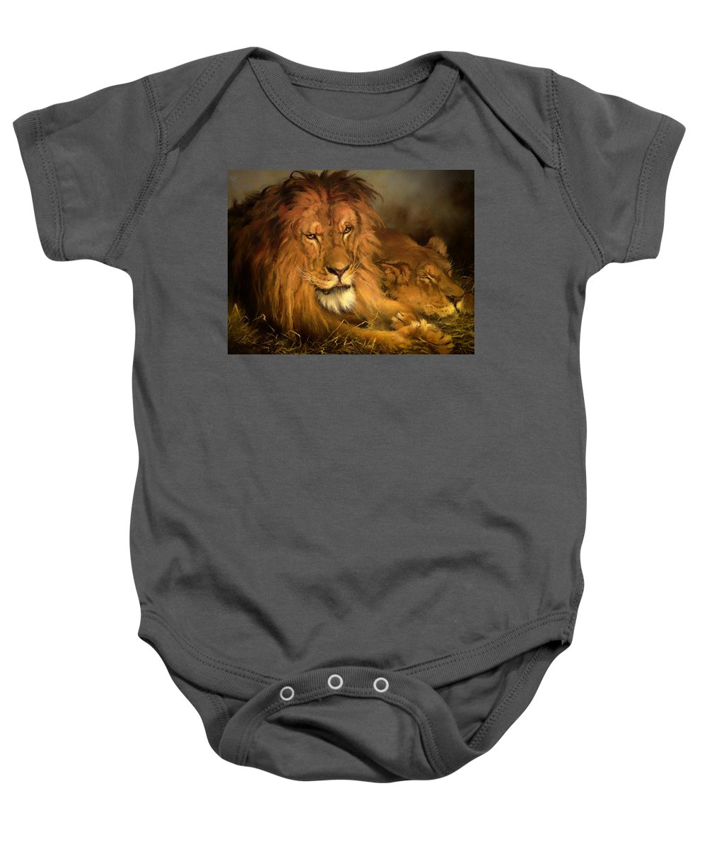 Painting Baby Onesie featuring the painting A Lion And A Lioness by Mountain Dreams