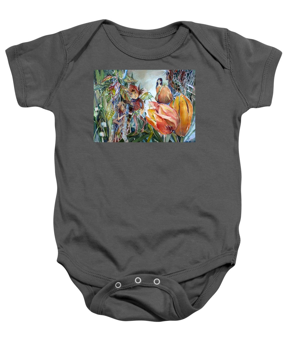 Elves Baby Onesie featuring the painting A Little Magic by Mindy Newman
