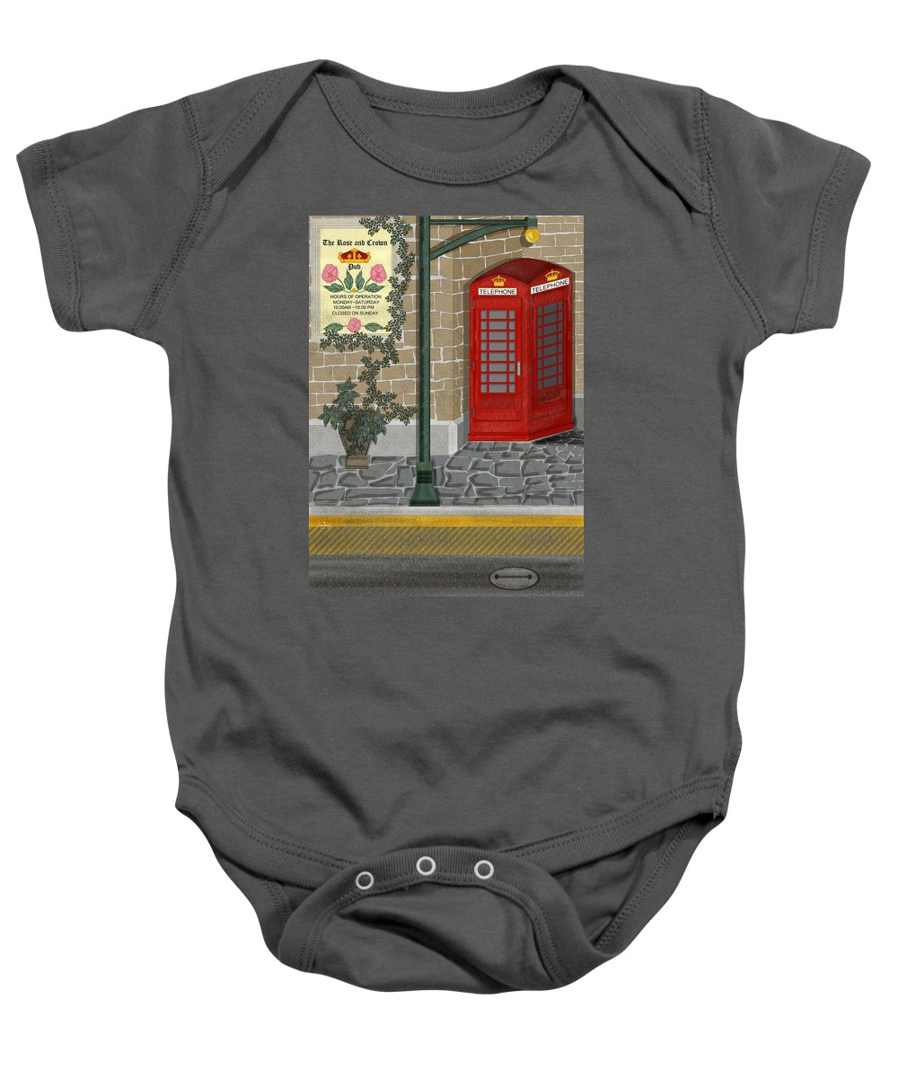 Cityscape Baby Onesie featuring the painting A Merry Old Corner In London by Anne Norskog