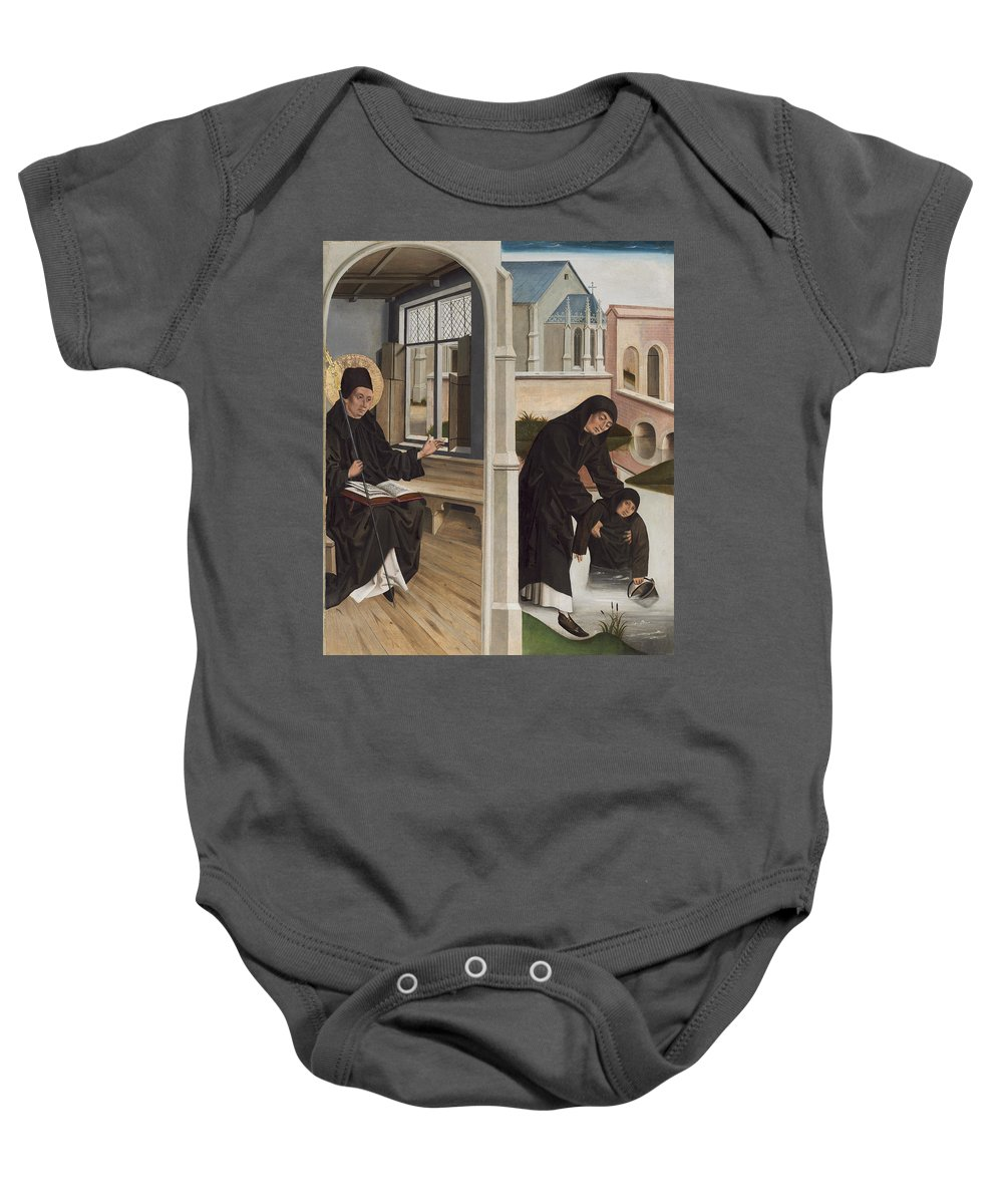 French 15th Century Baby Onesie featuring the painting A Miracle Of Saint Benedict by French 15th Century