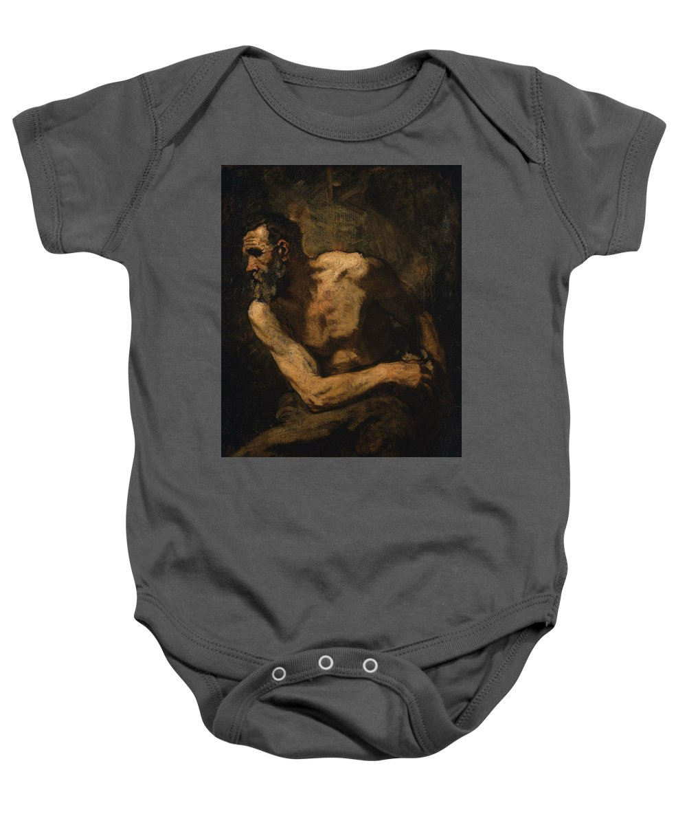 A Miser Study For Timon Of Athens 1876 Painting Painted Originally By Thomas Couture Baby Onesie featuring the painting A Miser Study by Thomas Couture