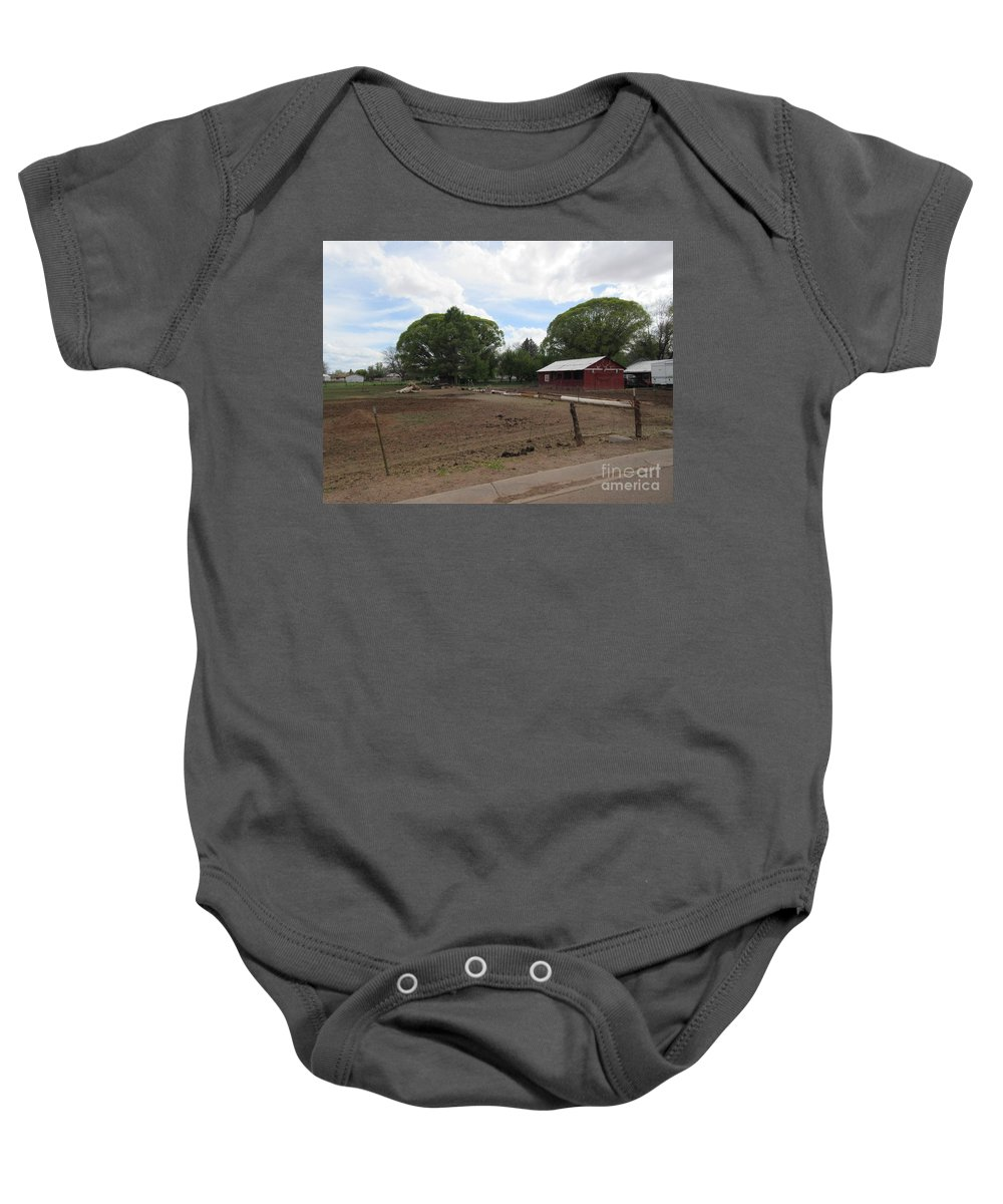 A Baby Onesie featuring the photograph A Mormon Barn by Frederick Holiday