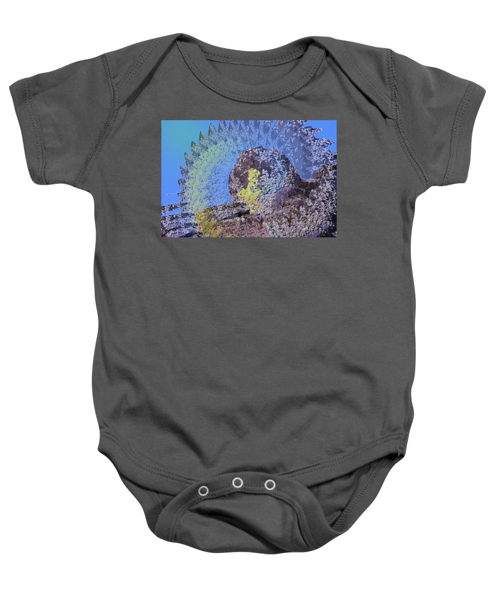 Rocks Baby Onesie featuring the photograph A Mossy Rock by Jeff Swan