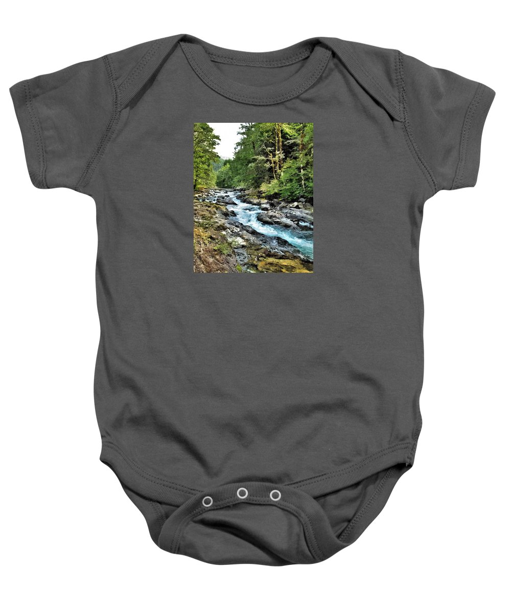 River Baby Onesie featuring the photograph A Mountain River 2 by John Trommer