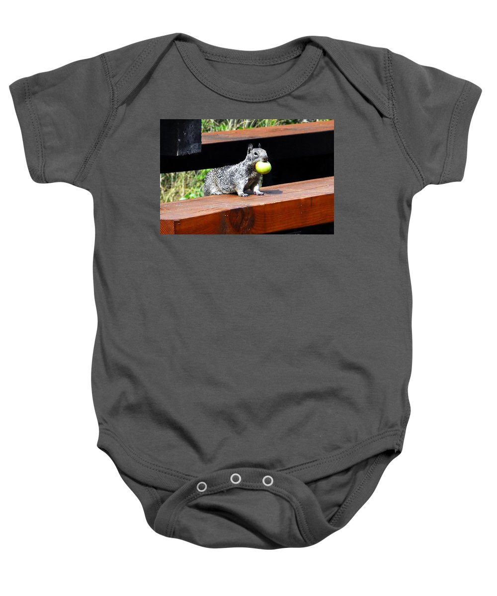 Squirrel Baby Onesie featuring the photograph A Mouthful by David Lee Thompson