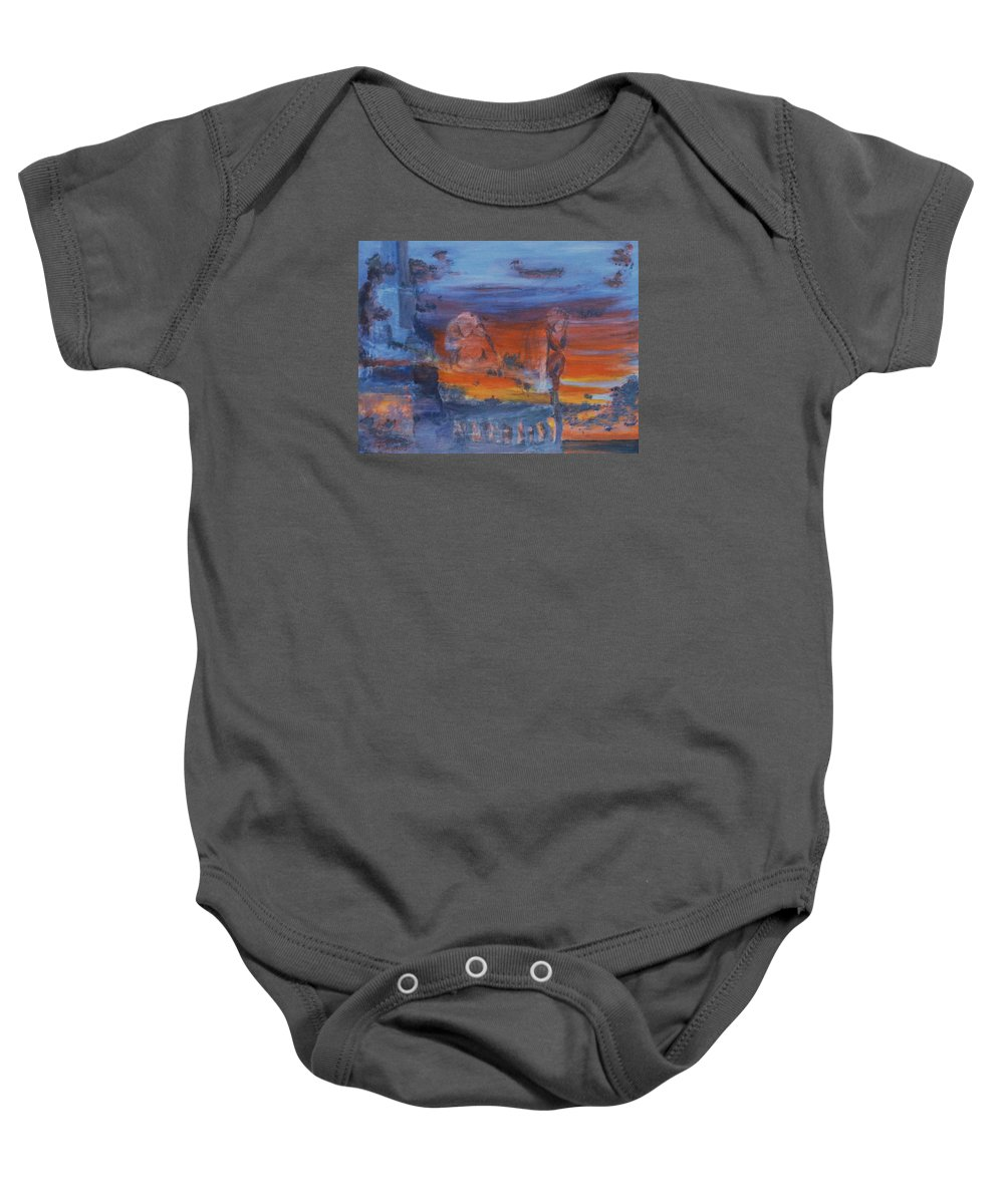 Abstract Baby Onesie featuring the painting A Mystery Of Gods by Steve Karol