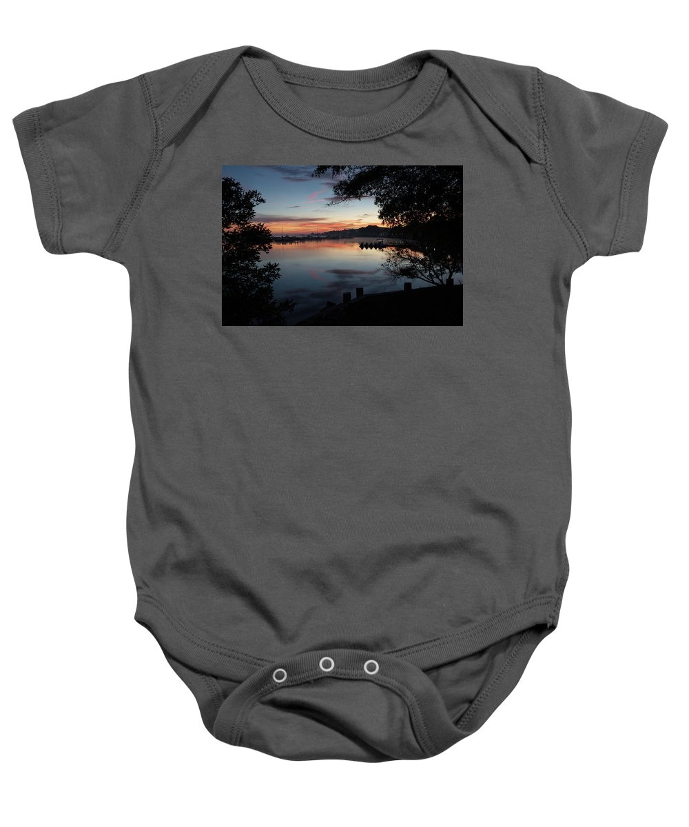 Silhouette Sunrise Baby Onesie featuring the photograph A New Day... by Richard Macquade