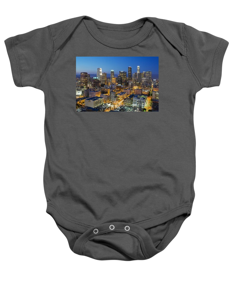 Los Angeles Baby Onesie featuring the photograph A Night In L A by Kelley King
