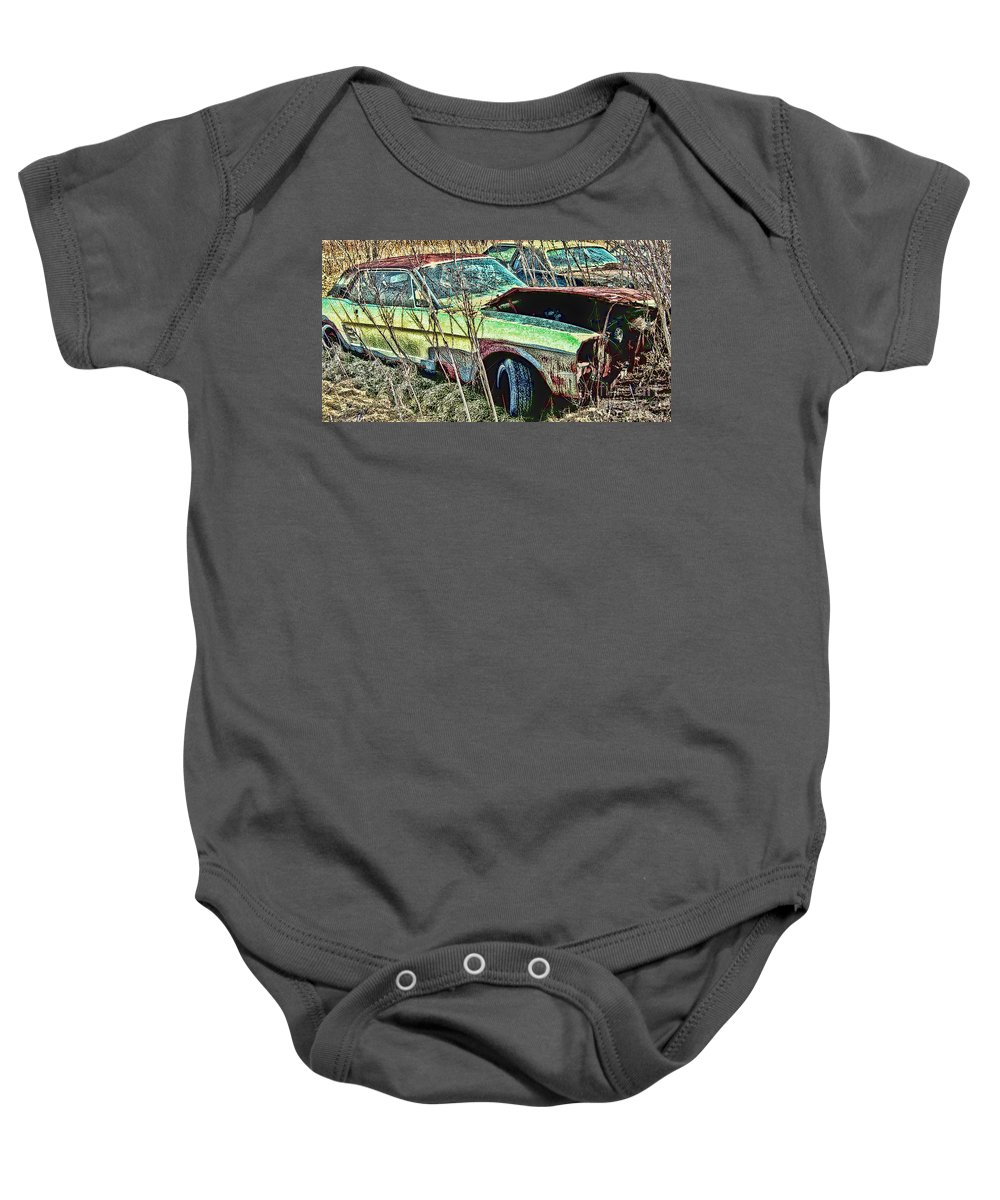 Ford Baby Onesie featuring the digital art A Parted Out Mustang by Tommy Anderson