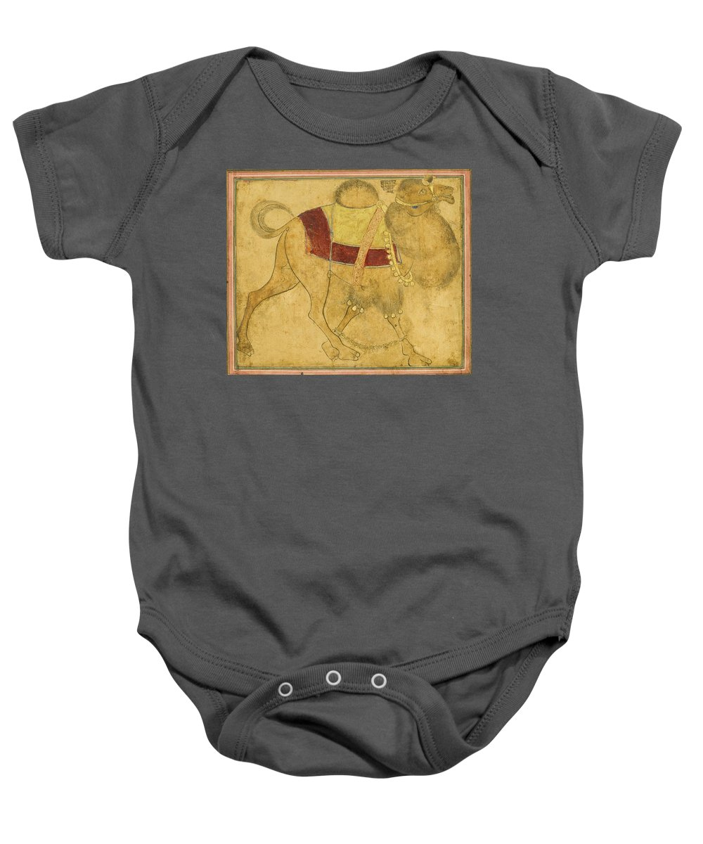 A Partially Coloured Drawing Of A Strutting Camel Baby Onesie featuring the painting A Partially Coloured Drawing Of A Strutting Camel by MotionAge Designs