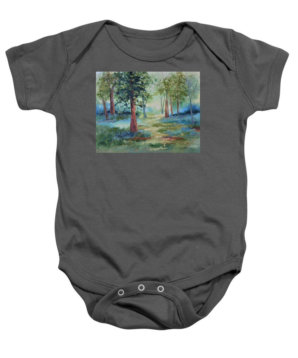 Trees Baby Onesie featuring the painting A Path Not Taken by Ginger Concepcion