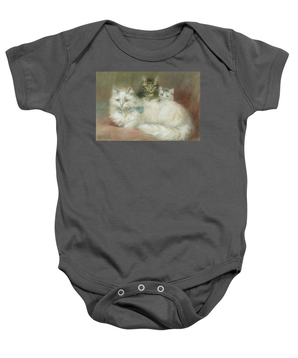 White; Long-haired; Two Baby Onesie featuring the painting A Persian Cat And Her Kittens by Maud D Heaps
