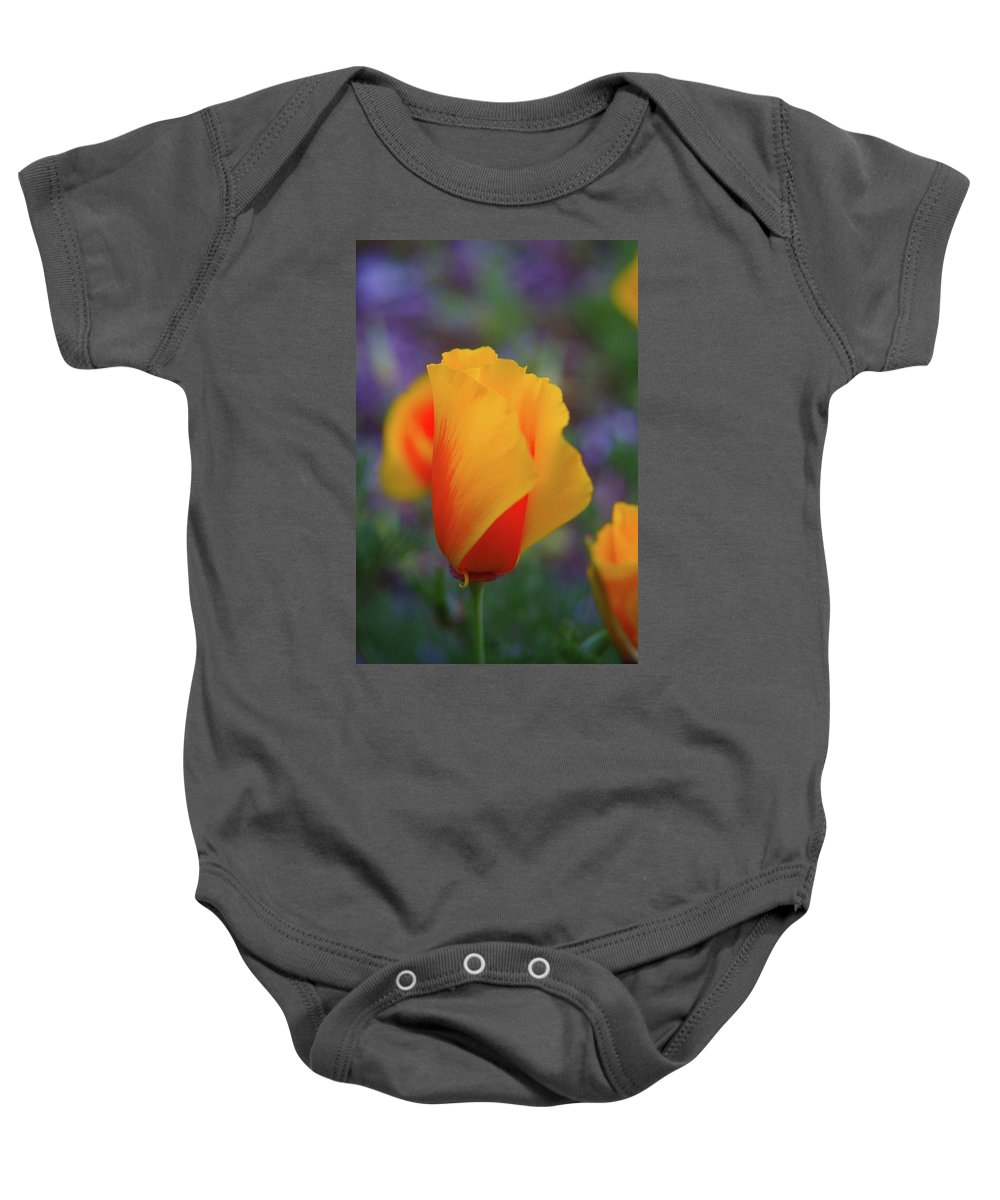 Poppies Baby Onesie featuring the photograph A Poppy Furled by Jeff Swan