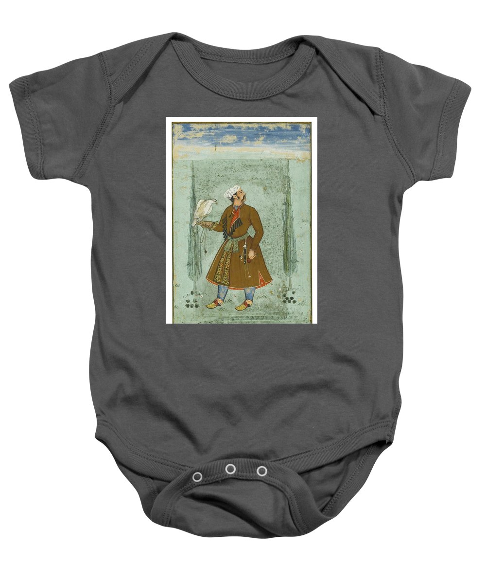 A Portrait Of A Nobleman Holding A Falcon Baby Onesie featuring the painting A Portrait Of A Nobleman Holding A Falcon by MotionAge Designs