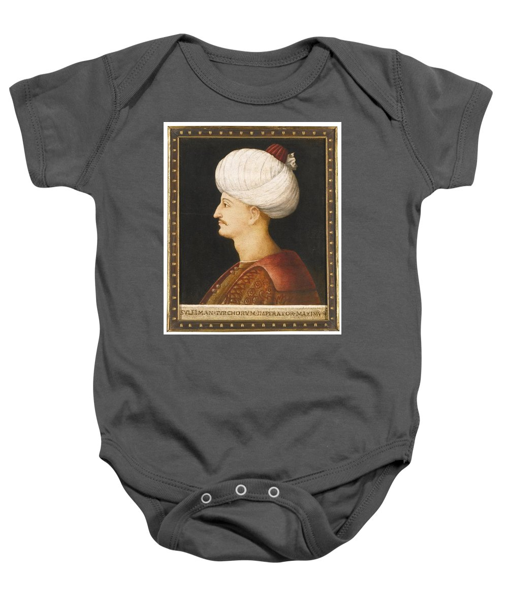 A Portrait Of Suleyman The Magnificent Baby Onesie featuring the painting A Portrait Of Suleyman by Eastern Accents