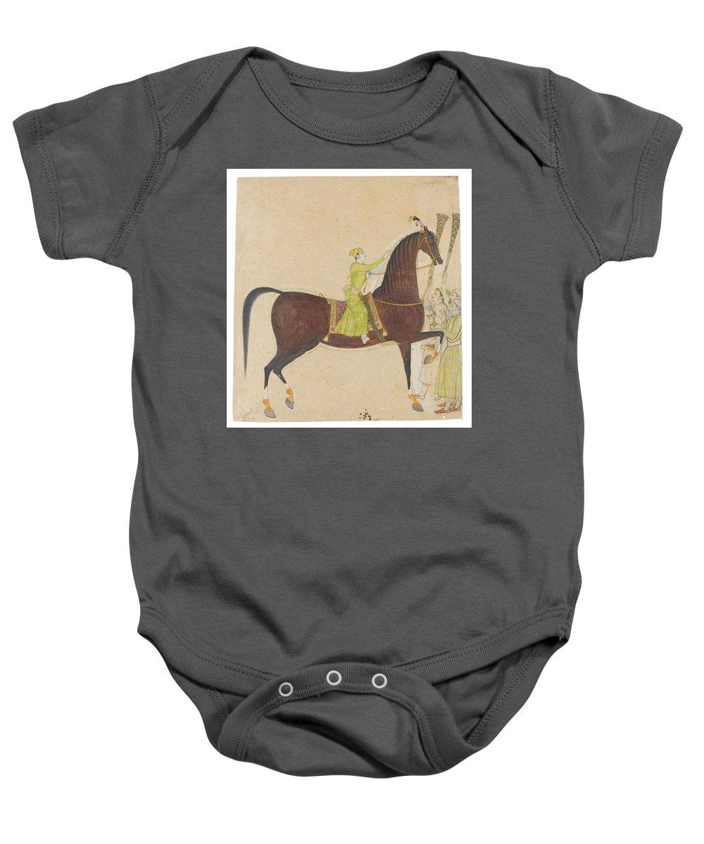 A Portrait Of The Royal Stallion Laldan Bebaha Baby Onesie featuring the painting A Portrait Of The Royal Stallion by Eastern Accents