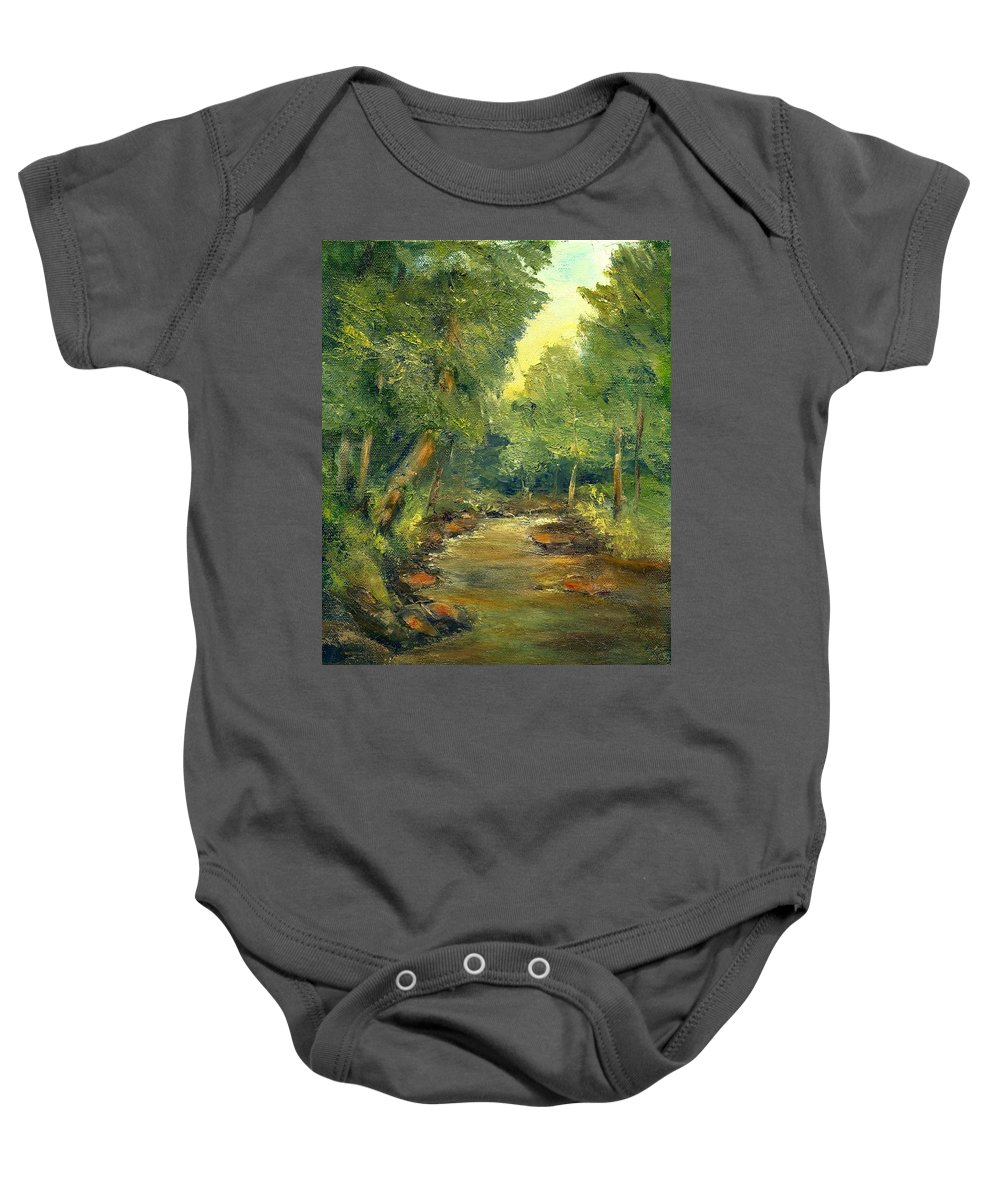 Creek Baby Onesie featuring the painting A Quiet Place by Gail Kirtz