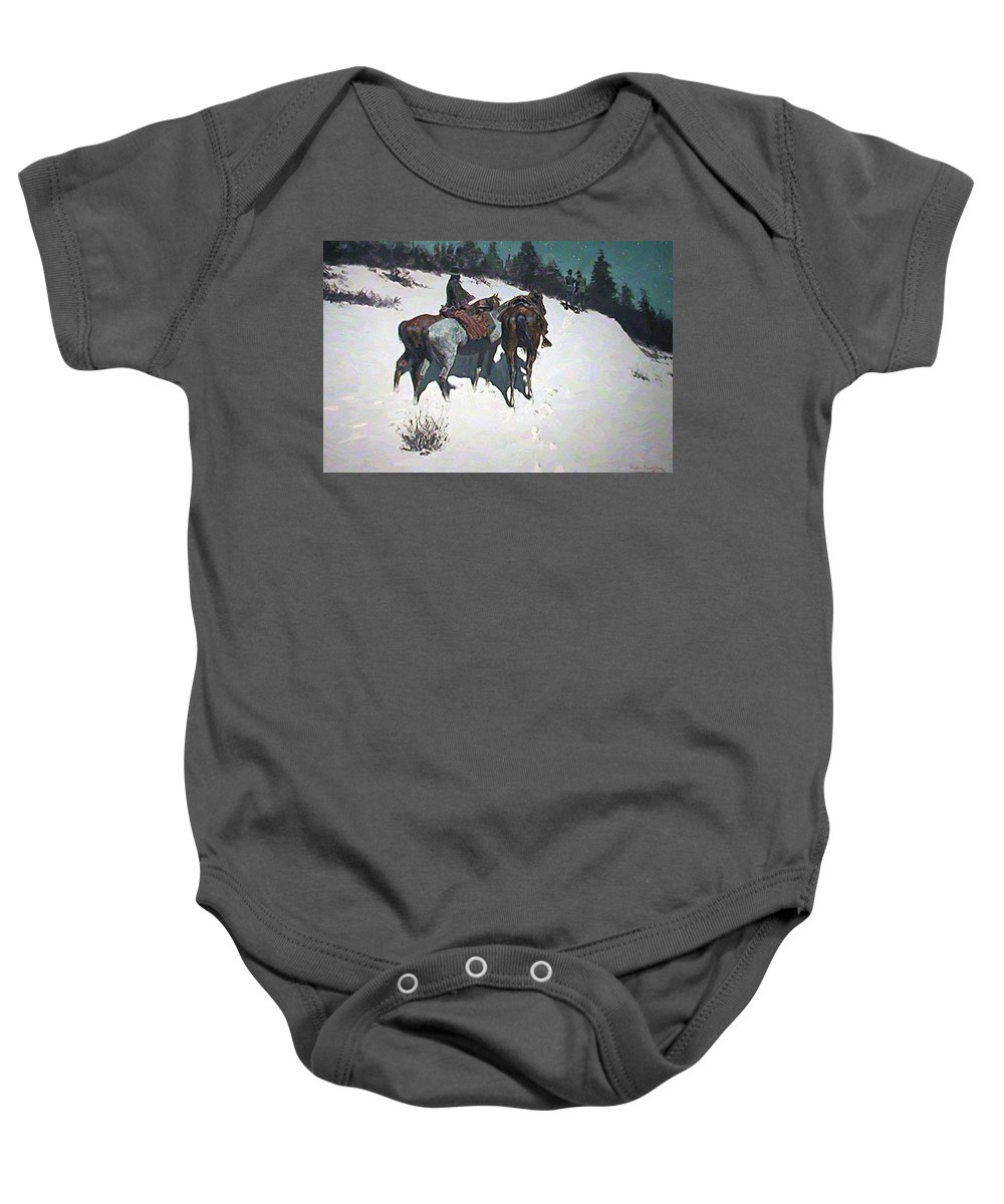A Baby Onesie featuring the painting A Reconnaissance 1902 by Remington Frederic