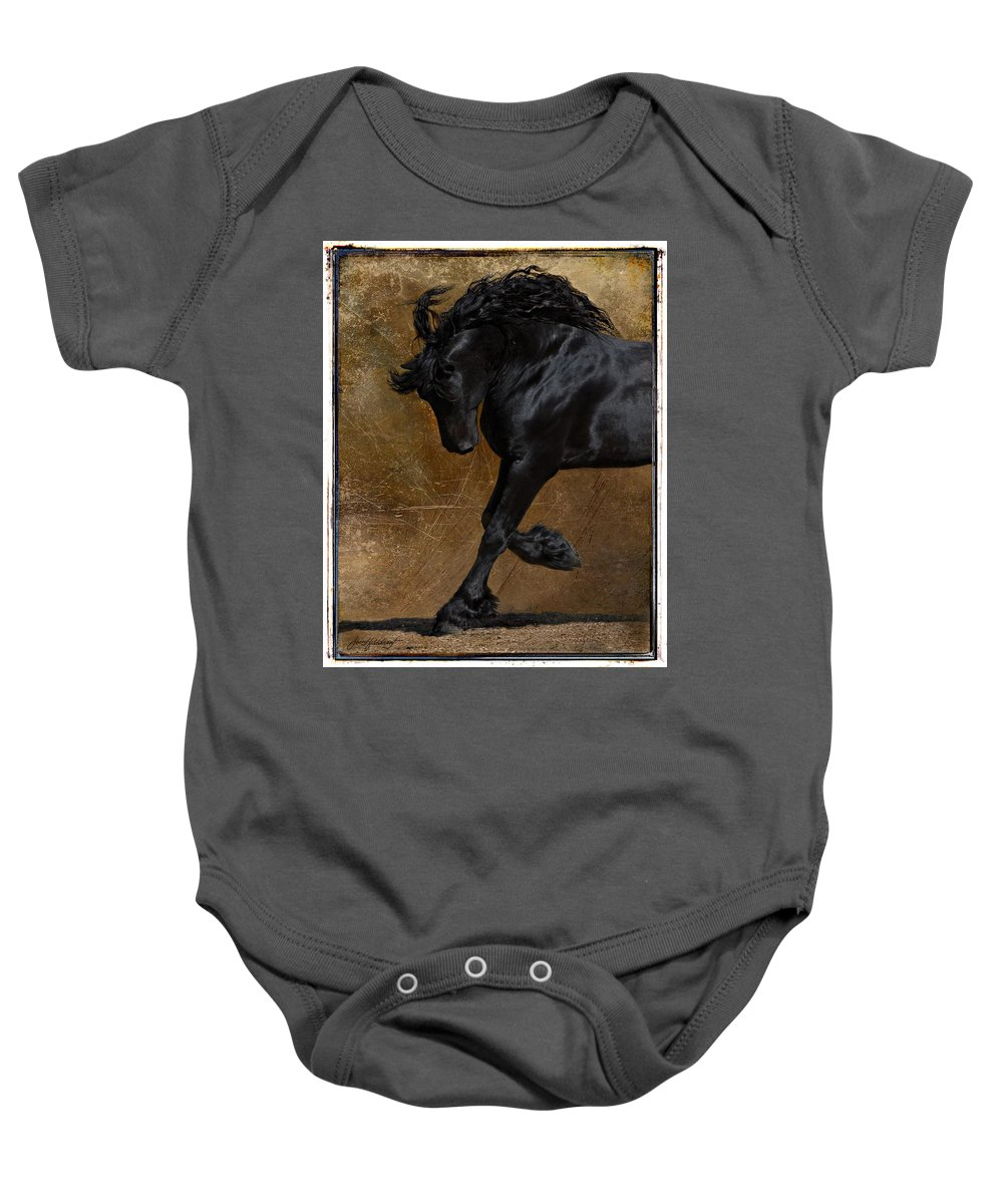 Horse Baby Onesie featuring the photograph A Regal Bow by Jean Hildebrant