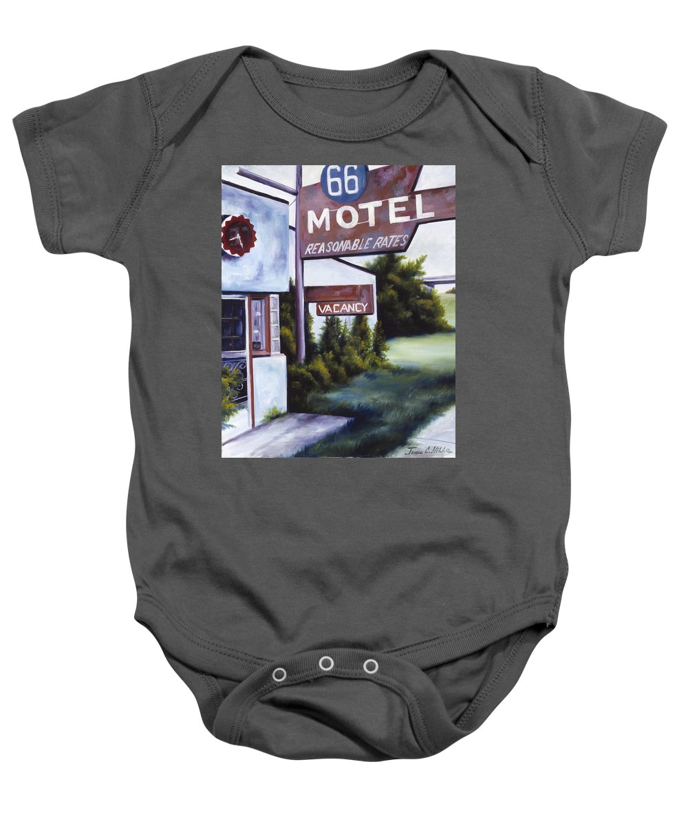 Motel; Route 66; Desert; Abandoned; Delapidated; Lost; Highway; Route 66; Road; Vacancy; Run-down; Building; Old Signage; Nastalgia; Vintage; James Christopher Hill; Jameshillgallery.com; Foliage; Sky; Realism; Oils Baby Onesie featuring the painting A Road Less Traveled by James Christopher Hill