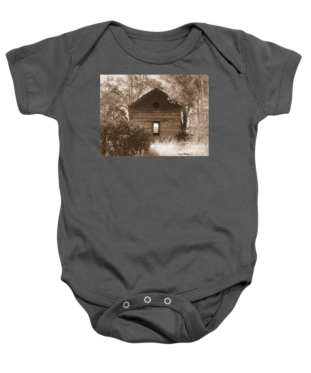 Old Cabin Baby Onesie featuring the photograph A Room With A View by Carol Groenen